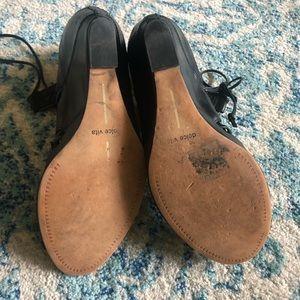 Black leather lace up sandals
